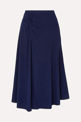 Maggie Marilyn Net Sustain Honey Ain't Home Gathered Ribbed Jersey Midi Skirt - Midnight blue