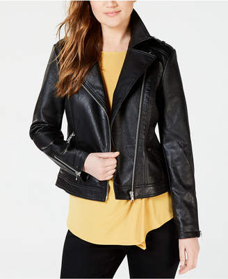 INC International Concepts I.n.c. Petite Faux-Leather Moto Jacket