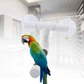 HURRISE Bird Perches Parrot Budgie Foldable Suction Cup Window Shower Bath Wall Paw Grinding Stand Toy