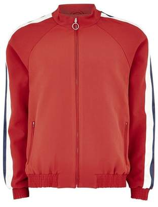 Topman Mens Red Smart Track Top With Satin Side Stripe