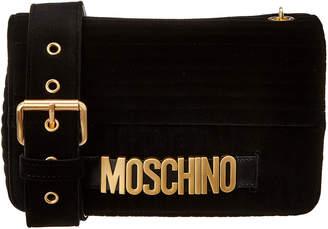 305d6c71d2 Moschino Logo Velvet Shoulder Bag