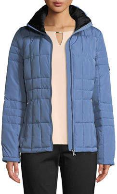 Iconic American Designer Faux-Fur Trim Hooded Short Puffer Coat