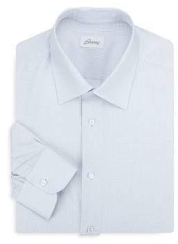 Brioni Houndstooth Cotton Dress Shirt