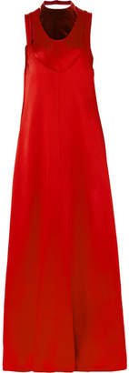 Valentino Velvet-trimmed Hammered-satin Maxi Dress