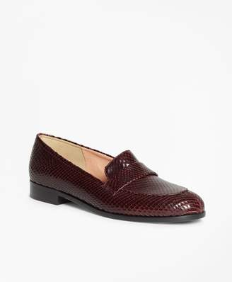 Brooks Brothers Reptile-Embossed Leather Loafers
