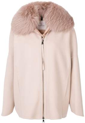Moncler padded fur collar coat