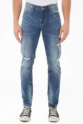 Forever 21 Faded Wash Distressed Jeans