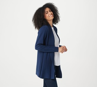 Isaac Mizrahi Live! Directional Ribbed Shawl Collar Cardigan