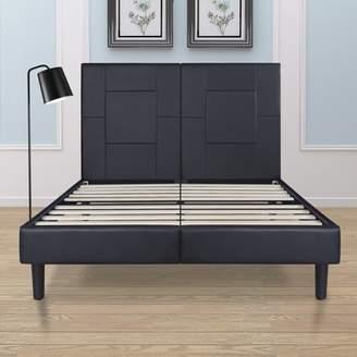 """GranRest 14"""" Dura Metal Faux Leather Platform Bed Frame, King Size"""