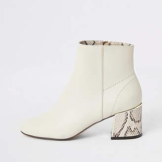 River Island Beige snake print block heel boots