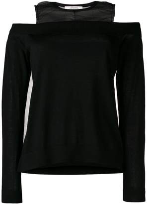 Schumacher Dorothee ruched organza trimmed foldover knit top