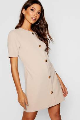boohoo Horn Button Round Neck Shift Dress