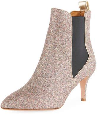 Veronica Beard Parker Glitter Metallic Leather Point-Toe Chelsea Bootie