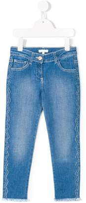 Chloé Kids scallop seam tapered jeans