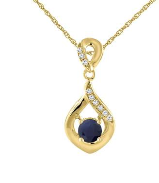 Sabrina Silver 14K Yellow Gold Natural HQ Sapphire Necklace with Diamond Accents Round 4 mm