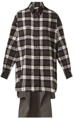 Balenciaga Sweatshirt Detail Checked Cotton Shirt - Womens - Black White