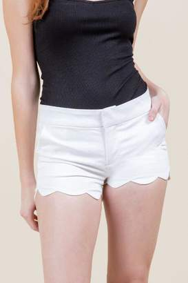 francesca's Mabel Scalloped Hem Shorts - White