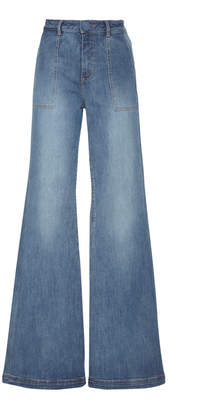 Johanna Ortiz Secretos De Las Olas Mid-Rise Wide-Leg Jeans Size: 0