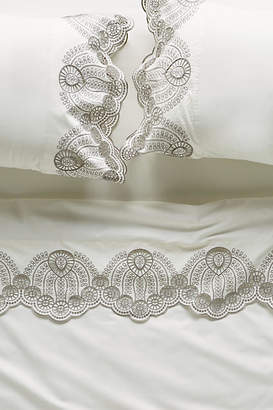 Anthropologie Eyelet Embroidered Sheet Set