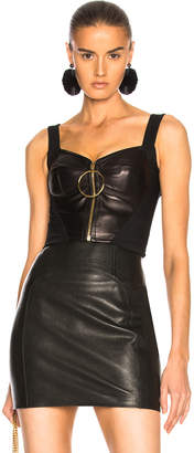 Fausto Puglisi Zip Up Leather Bustier