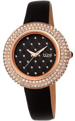 Burgi Gold Tone Dress Quartz Watch With Satin Strap [BUR207BU]