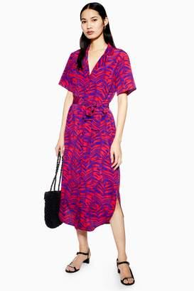 Topshop Womens Palm Print Bowler Dress - Multi
