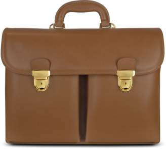 L.a.p.a. Men's Front-pocket Tan Brown Italian Leather Briefcase