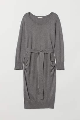 H&M MAMA Fine-knit Dress - Gray