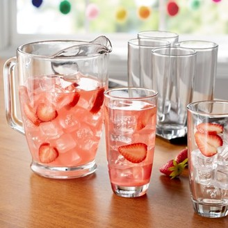 clear Mainstays 7-Piece Glass Pitcher and Drinkware Tumbler Set
