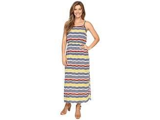 Vince Camuto Elastic Waist Jagged Stripe Maxi Dress Women's Dress
