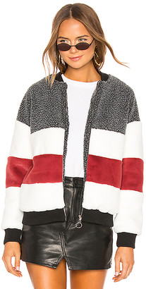 by the way. Ash Stripped Panel Faux Fur Bomber