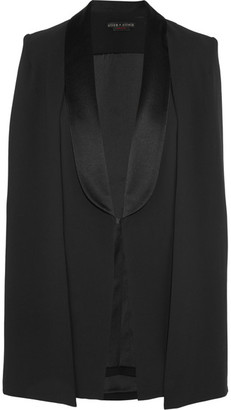 Alice + Olivia - Merrie Satin-trimmed Crepe Cape - Black $485 thestylecure.com