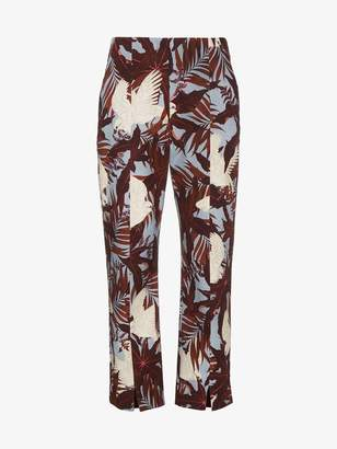 Erdem Slim cropped trousers with floral print