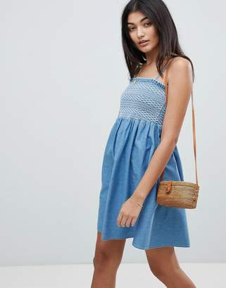 Asos DESIGN denim shirred strappy dress