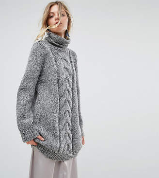Oneon Hand Knitted High Neck Cable Dress