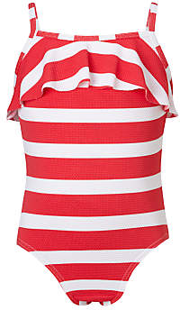 John Lewis & Partners Girls' Textured Stripe Swimsuit, Red