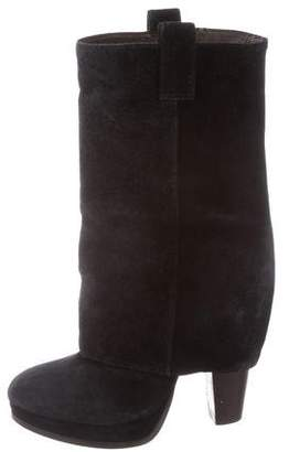 Ash Suede Mid-Calf Boots
