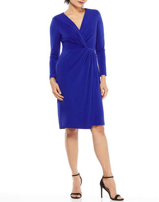 Maggy London Sonya Long-Sleeve Jersey Wrap Dress