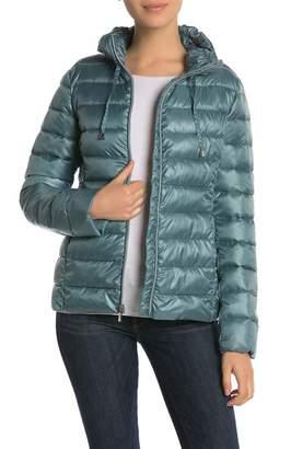 Via Spiga Ruffle Stand Collar Packable Jacket