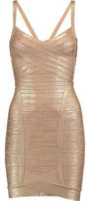 Herve Leger Kourtney Wrap-Effect Metallic Bandage Mini Dress