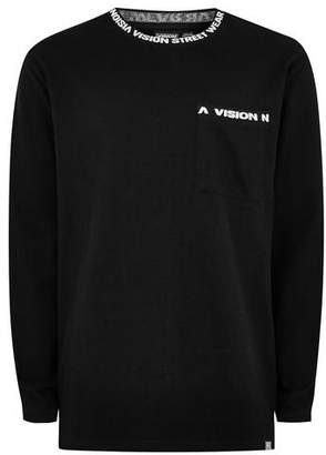 Topman Mens VISION STREET WEAR Black Ribbed Long Sleeve T-Shirt