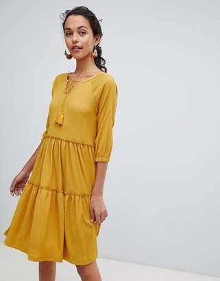 Esprit Tie Front Tiered Smock Dress