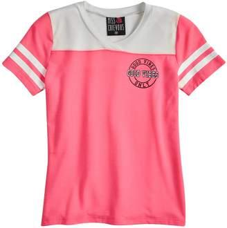 Miss Chievous Girls 7-16 V-Neck Varsity Tee