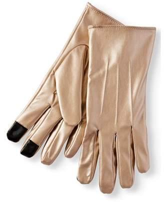 Time and Tru Women's P.U. Metallic Leather Glove w/3 Row Stitch