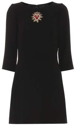 Dolce & Gabbana Embroidered wool crepe dress