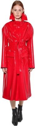 Balenciaga BELTED VINYL COAT W/HIGH COLLAR