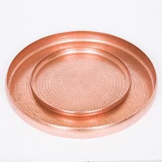 J & K Europe Imports Round Antique Copper Trays Set/2