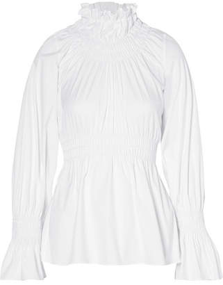 Beaufille - Galileo Shirred Cotton-blend Poplin Blouse - White