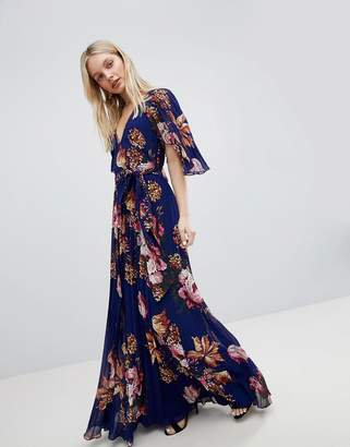 Asos Pleated Maxi Dress with Flutter Sleeve in Floral Print