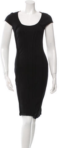 prada Prada Gathered-Accented Sheath Dress